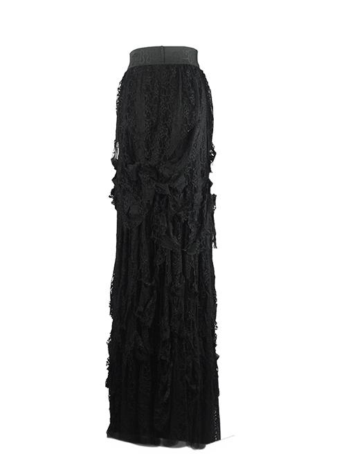Gothic Retro Black Lace Embroidery Big Hem Long Skirt