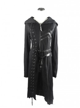 Punk Dark Asymmetric Hem Hooded Long Woolen Coat