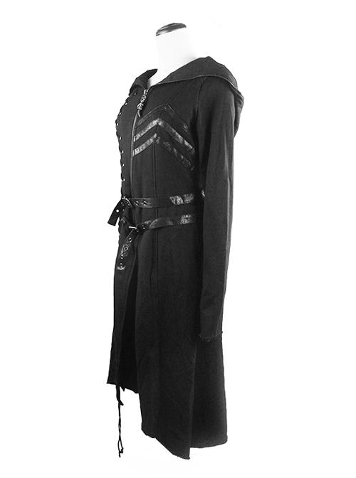 Punk Dark Asymmetric Hem Hooded Long Woolen Coat