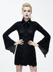 Black Bowknot Trumpet Sleeve Gothic Lapel Long Sleeve Dress