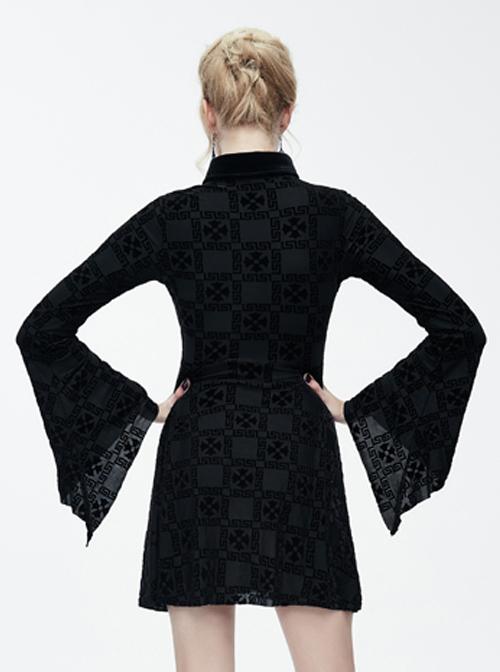 Black Bowknot Trumpet Sleeve Gothic Lapel Long Sleeve Dress