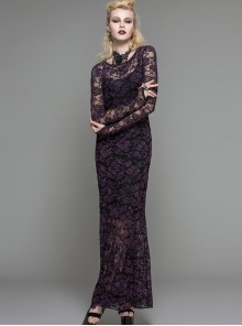 Purple Lace Perspective Backless Sexy Slim Gothic Long Sleeve Long Dress