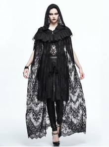 Gothic Halloween Black Lace Witch Perspective Hooded Long Cloak