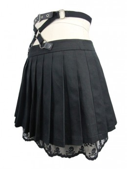 Gothic Black Skull Lace Super Short Pleated Skirt