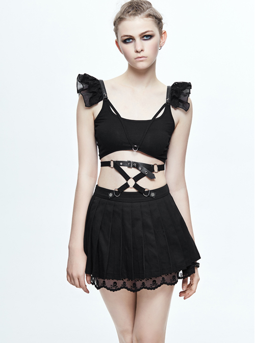 Gothic Black Skull Lace Super Short Pleated Skirt