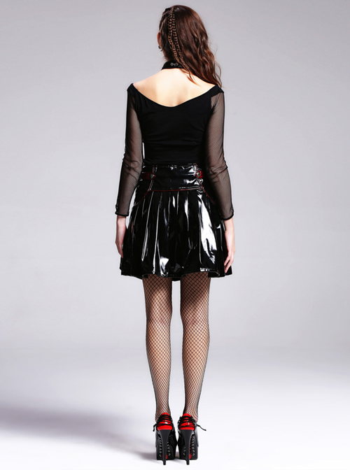 Steampunk Gothic Slim Leather Pleated Short Skirt