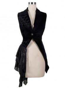 Palace Style Punk Black Slim Tuxedo Vest