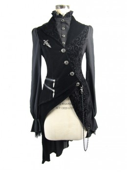 Black Slim Tuxedo Asymmetrical Hem Gothic Coat