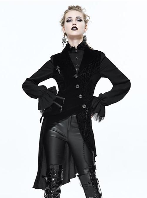 Black Slim Tuxedo Asymmetrical Hem Gothic Coat