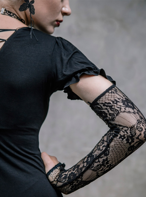 Steampunk Gothic Black Lace Embroidery Long T-shirt With Lace Oversleeves