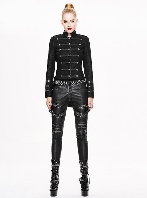 Gothic Punk Slim Thicken Retro Black Short Jacket