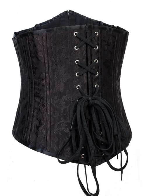 Victorian Black Retro Printing Vest Double Steel Skeleton Gothic Lolita Corset