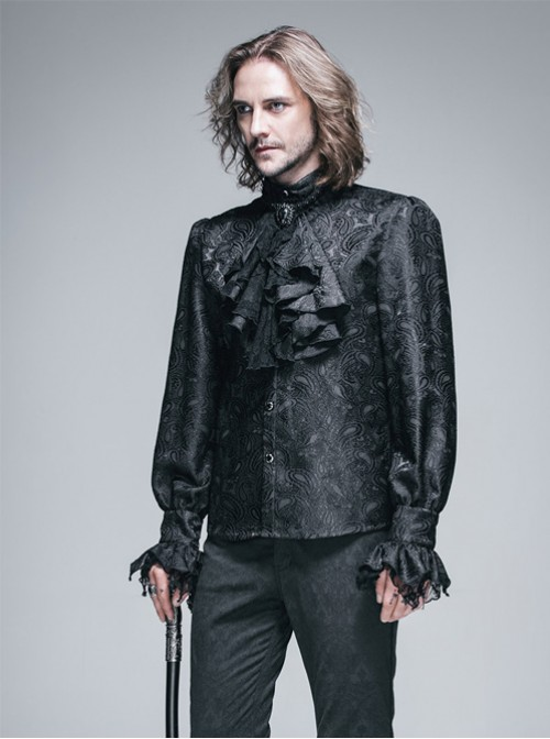 Retro Prom Gothic Lace Bow-tie Loose Men's Shirt