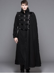 Punk Gothic Nobleman Detachable Shawl Black Thickened Men's Long Coat