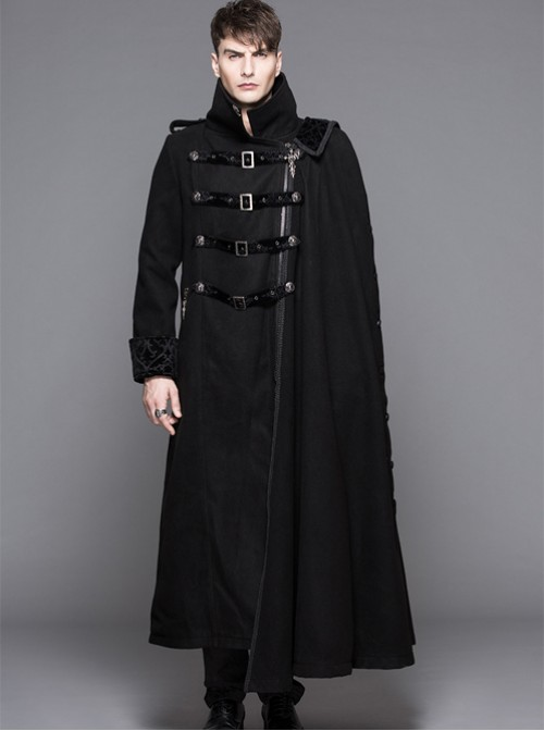 Punk Gothic Nobleman Detachable Shawl Black Thickened Men's Long Coat