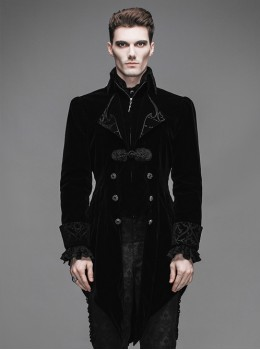 Steam Punk Gothic Medium Length Slim Fit Men's Velveteen Tuxedo
