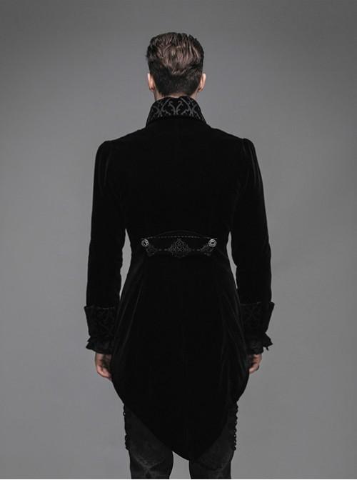 Steam Punk Gothic Medium Length Slim Fit Men's Velveteen Tuxedo
