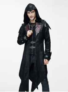 Steam Punk Gothic Vampire Priest Stand Collar Men's Long Windbreaker