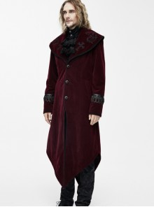 Square Shoulder Lapel Dovetail Gothic Men Long Coat