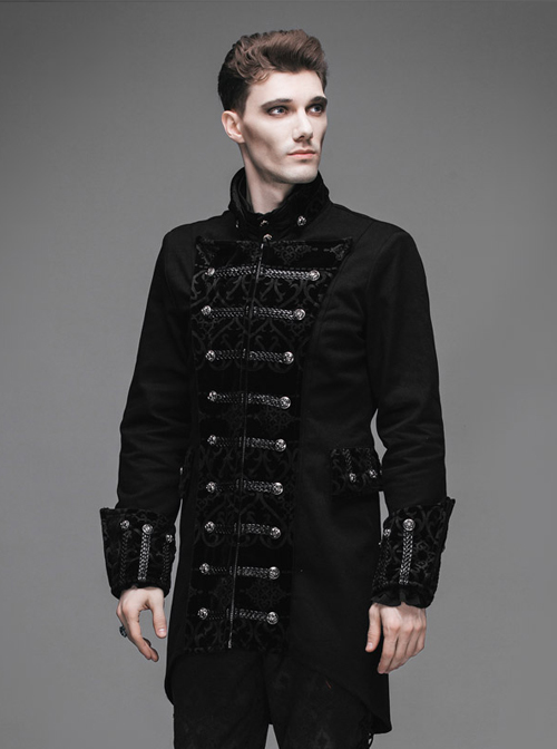 Steampunk Gothic Chinese Style Men' Long Coat Visual Chinese Tunic Suit