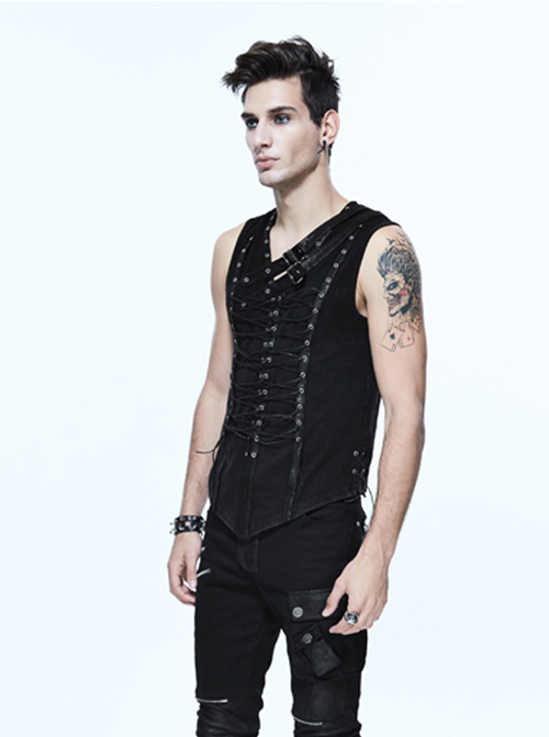 Steampunk Black Lace-up Slim Fit Sleeveless T-shirt