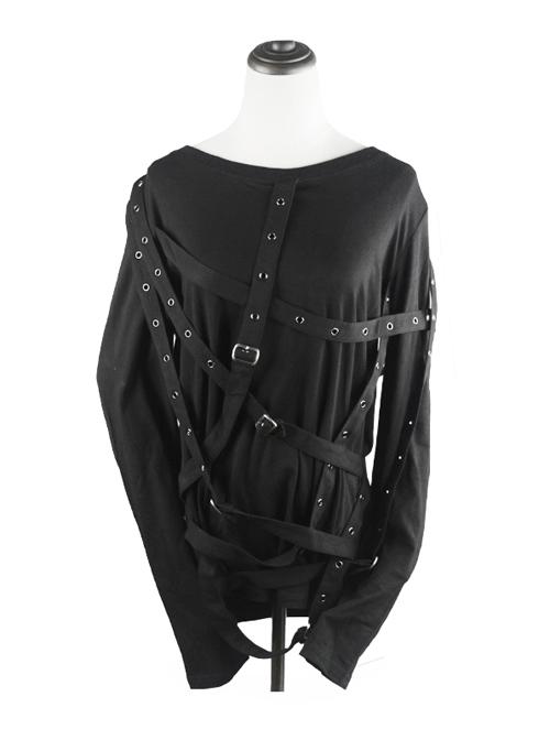 Steampunk Bundled Style Pure Black Round Collar Long Sleeve T-shirt