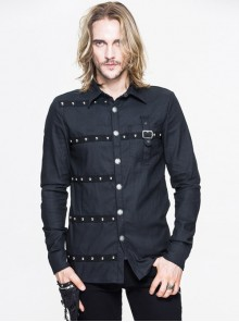 Steampunk Metal Buttons Black Pure Cotton Men's Long Sleeve Shirt