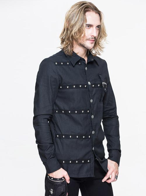 Steampunk Metal Buttons Black Pure Cotton Men's Long Sleeve Shirt