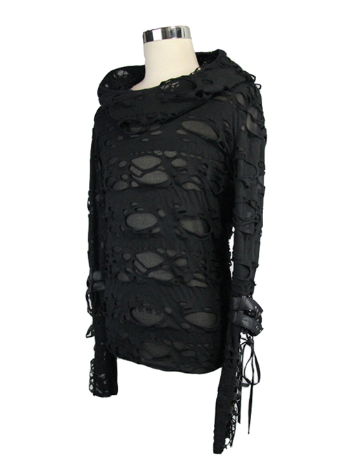 Black Hooded Hollowed Out Element Men' Long Sleeve T-shirt