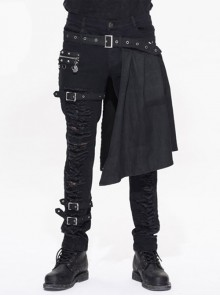 Steampunk Black Slim Gothic Detachable Waistband Men' Ripped Trousers