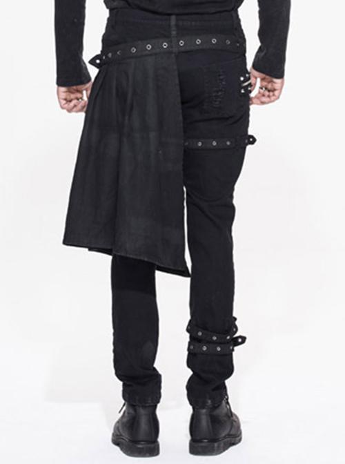 Steampunk Black Slim Gothic Detachable Waistband Men' Ripped Trousers