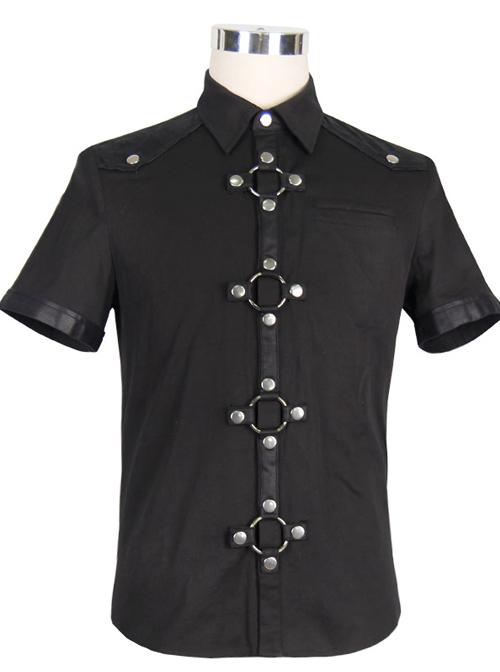 Steampunk Visual Gothic Men' Black Slim Short Sleeve Shirt