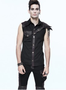 Gothic Rock Lapel Slim Black Or Brown Metal Decoration Men's Sleeveless Shirt