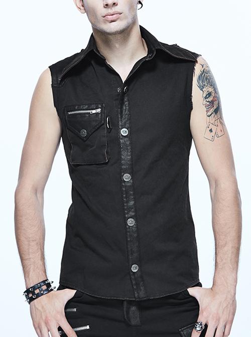 Gothic Rock Lapel Slim Black Or Brown Metal Decoration Men's Sleeveless Shirt
