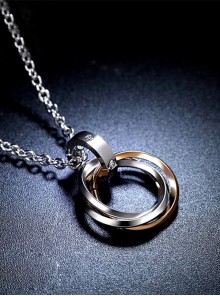 Concise And Retro Golden Ring Pendants Women's Necklace