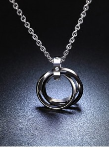 Concise And Retro Black Ring Pendants Men's Necklace