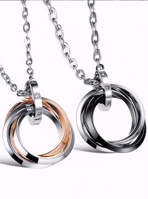 Concise And Retro Black And Golden Ring Pendants Lovers' Necklaces