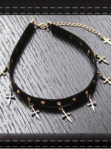Punk Gothic Harajuku Rock Style Rivet Silvery Cross Pendant PU Choker