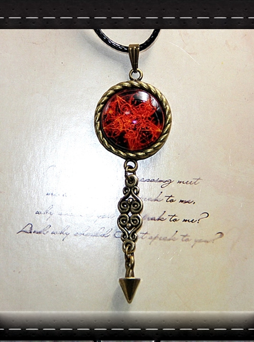 Magic Series Flame Magic Array Gothic Inverse Five Awn Small Pendulum Retro Necklace