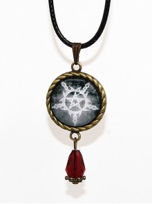 Magic Series Gothic Reverse Pentagram Crystal Pendant Retro Little Witch Necklace