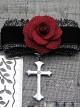 Elegance Gothic Rose Cross Pendant  PU Choker