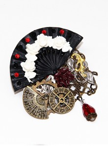 Steam Punk Gothic Flower Fan Gear Butterfly Astrolabe Mechanical Chain Brooch