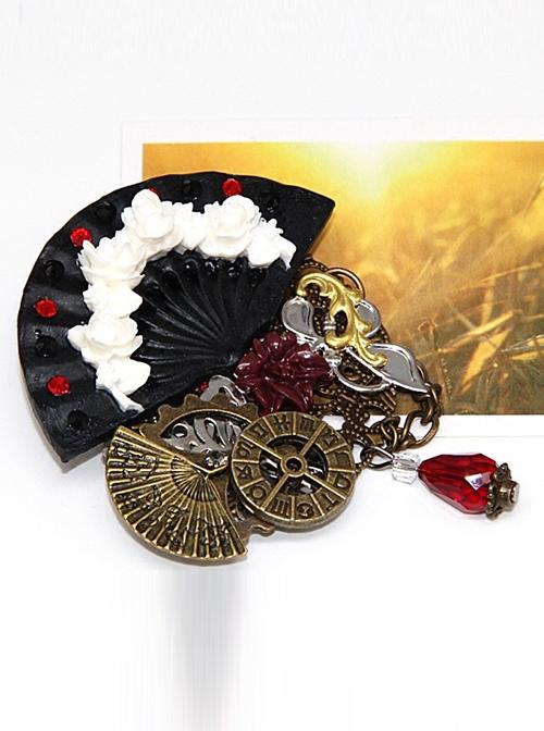 Steam Punk Gothic Flower Fan Gear Butterfly Astrolabe Mechanical Chain Brooch