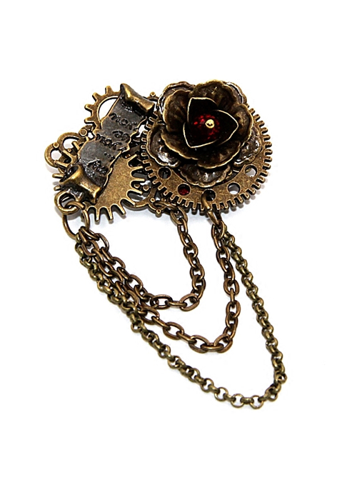 Steampunk Gear Chain Rose Vows Contract Reel Retro Brooch