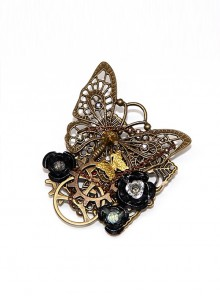 Steampunk Black Rose Retro Mechanical Butterfly Gear Brooch