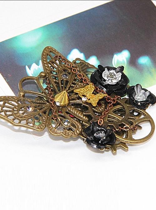 Steampunk Black Rose Retro Mechanical Butterfly Gear Brooch