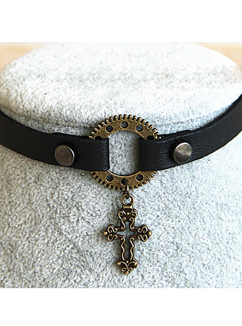 Steampunk Gothic Hollow Out Crucifix Pendant Rivet Gear PU Leather Necklace