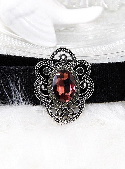 Black Pleuche Retro Gothic Lolita Necklace