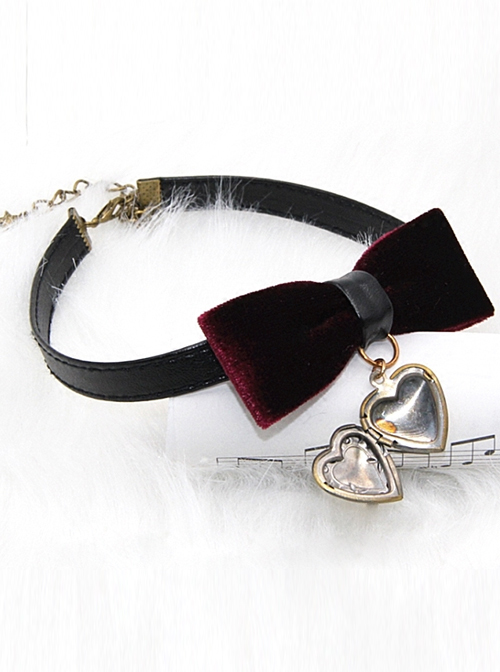 Retro Gothic Wine Red Gold-velour Bowknot Heart-shaped Pendant PU Leather Necklace