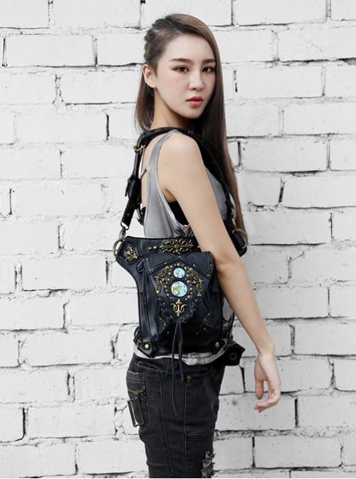 Steam Punk Retro Rivet Black Women's Inclined Shoulder Bag